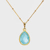 Blue Topaz bezel station Necklace - December Birthstone