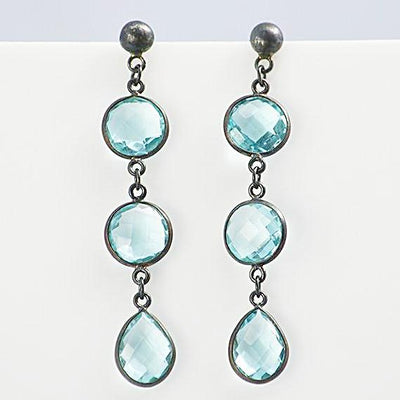 Blue Topaz Triple drop Bezel Set Stud Earrings - December Birthstone