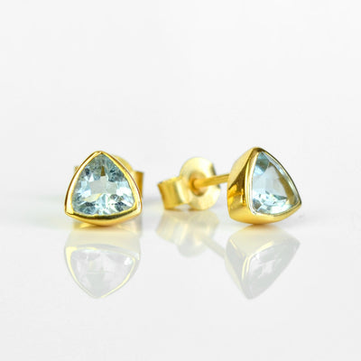 Small Blue Topaz Triangle Studs, Everyday Earrings