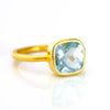 Blue Topaz Cushion Ring - December Birthstone