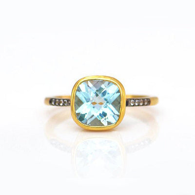 Blue Topaz Pave Cushion Ring - December Birthstone