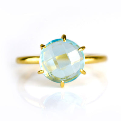 Blue Quartz Round Prong Set Ring - December Birthstone