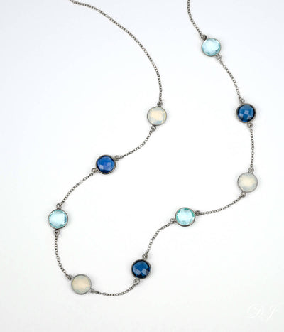 Long Kyanite, Opalite, Blue Topaz bezel station necklace