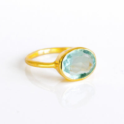 Blue Topaz Oval Bezel Ring - December Birthstone