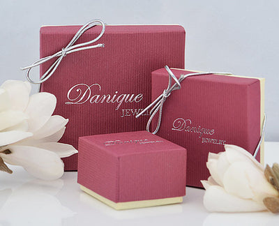 Danique Jewelry Gift Boxes Gift Wrapping Available Red Gift Box Stamped Logo Silver Bow Tie