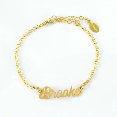 Custom Name Plate Bracelet in Gold or Silver