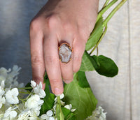 Brown Druzy large oval prong set ring