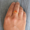 Carnelian Cushion Bezel Set ring