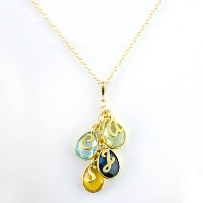 Family birthstone pendant necklace with letter charms danique jewelry family birthstone pendant necklace with letter charms aloadofball Gallery