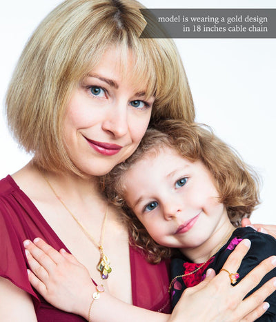 Model With 18 Inch Cable Chain Cascade Necklace with 4 Stones Mom and Daughter 3-stone prong ring