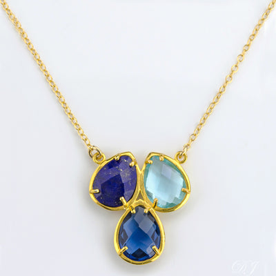 Three Birthstone Necklace Pendant