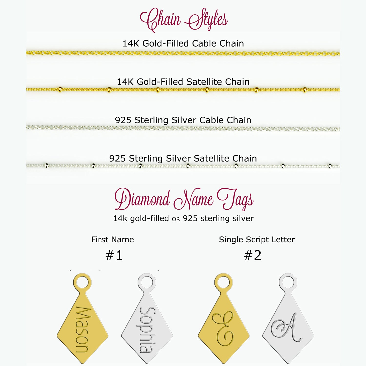 Mother\'s Birthstone Necklace with Diamond Gemstones & Name Charms ...