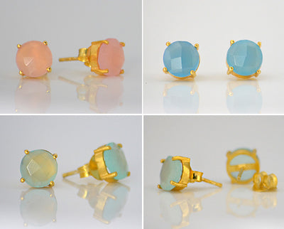 Aqua Chalcedony Round Prong Set Stud Earrings - March Birthstone
