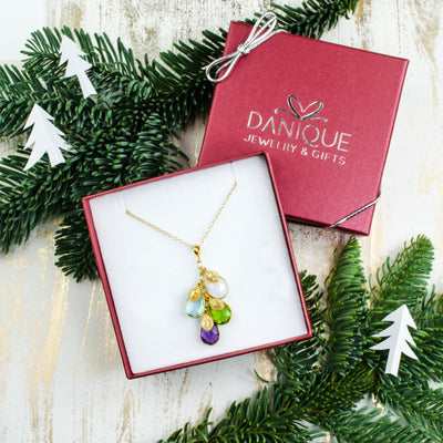 Christmas Gift for Mom: Birthstone Initial Necklace