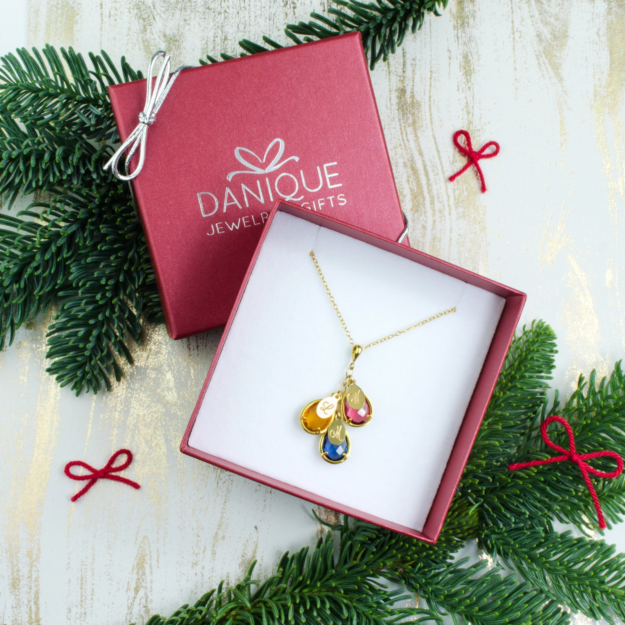 Mothers Necklace With Kid S Birthstones And Names Gift Idea For