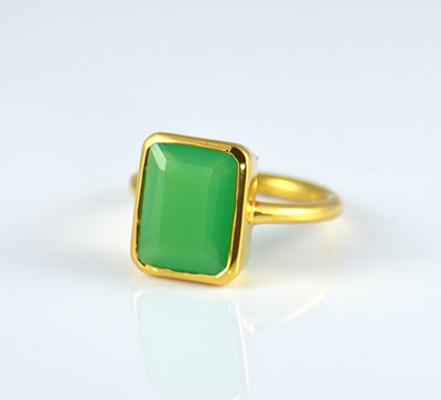 Mint Green Chrysoprase Chalcedony Ring - large rectangle bezel set ring