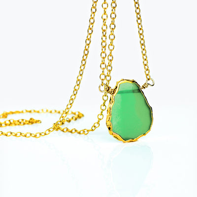 Natural Chrysoprase Slice Necklace with Organic Profile