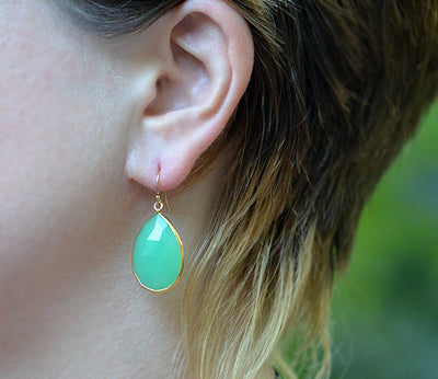 Faceted Green Onyx Teardrop Bezel Set Earrings - May Birthstone
