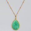 Chrysoprase large faceted teardrop bezel station Necklace
