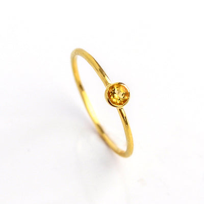 Dainty Stackable Citrine Quartz Ring, November Birthstone