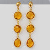 Citrine Triple drop Bezel Stud Earrings - November Birthstone