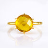 Citrine Round Prong Set Ring - November Birthstone