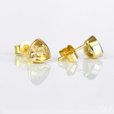 Small Citrine Triangle Studs, Everyday Earrings