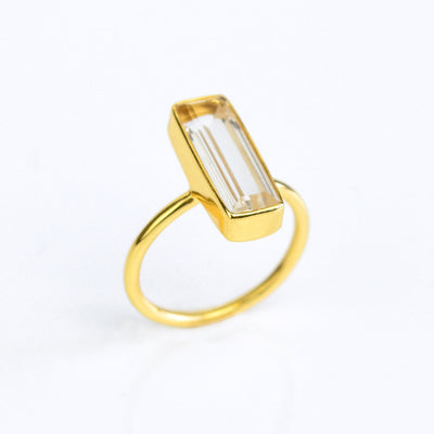 Clear Quartz Gemstone Bar Ring, April Birthstone Geometric Ring