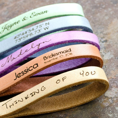 Personalized Leather or Cork Keychain Ring