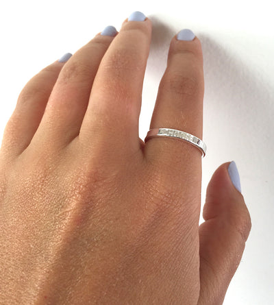 Hand Model Short Phrase Engraving 3mm Sterling Silver Ring band