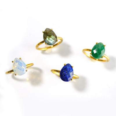 Raw Emerald Teardrop Ring - May Birthstone