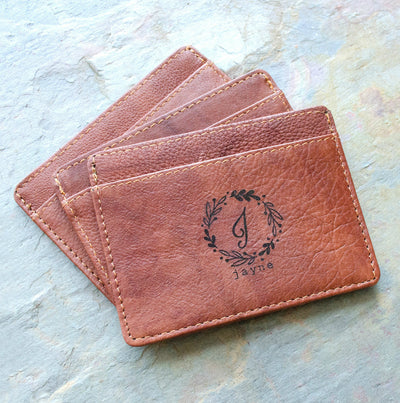 Engraved Slim Leather Cardholder with Monogram or Handwriting