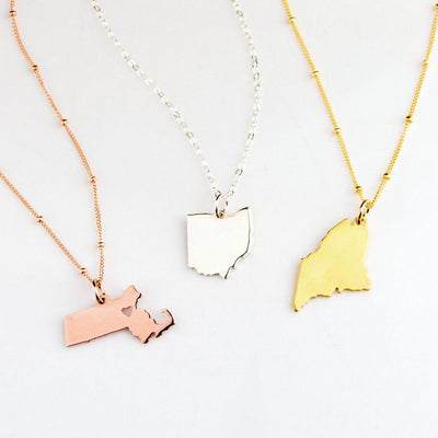 Personalized State Necklace, Homecoming Necklace