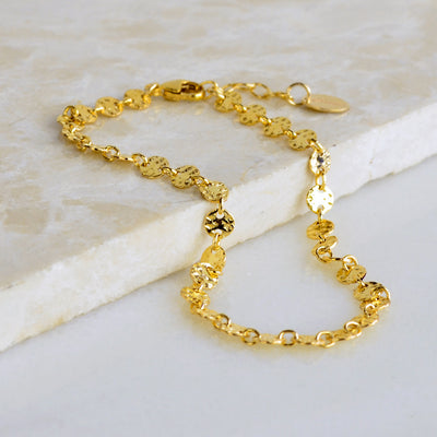 Textured Sequin Coin Bracelet - Gold and Silver