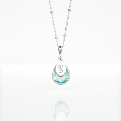 December Birthstone & Name Necklace : Blue Quartz