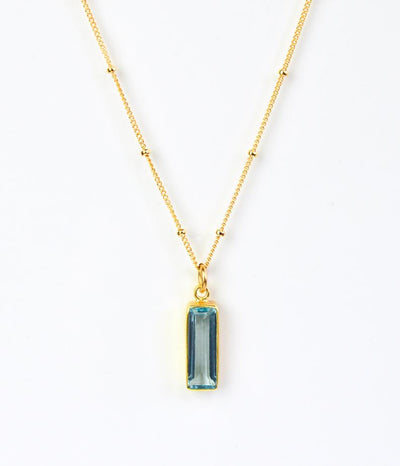 Blue Topaz Vertical Bar Necklace : December Birthstone : Adira Series