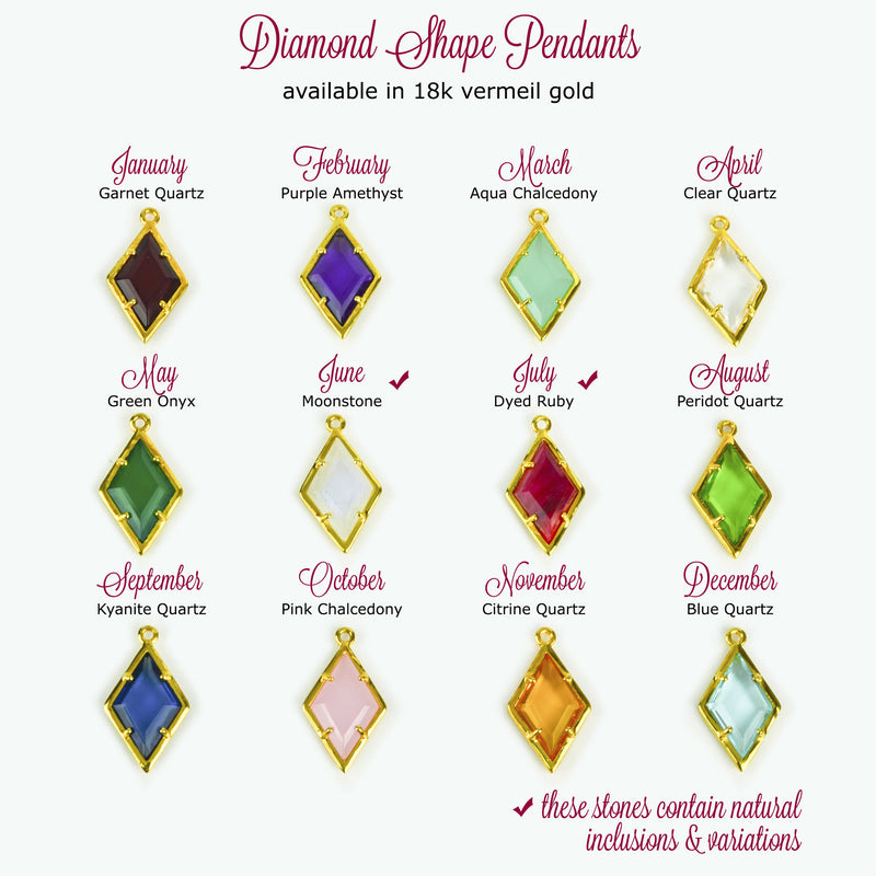 Diamond Shaped Birthstone And Name Necklace February
