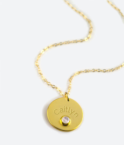 January Engraved Disk Pendant Necklace