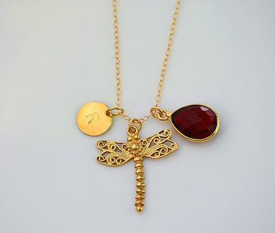 Personalized Dragonfly Natural Birthstone necklace - charms necklace