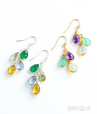 Silver or Gold Metal Cascade Birthstone Earrings Green Onyx Green Amethyst Alexandrite Citrine Purple Amethyst Aqua Chalcedony Opalite Birthstones