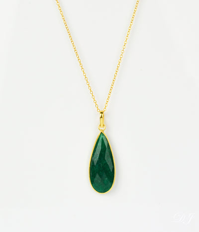 Emerald Elongated Teardrop Pendant Necklace