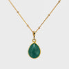 Green Onyx bezel station Necklace - May Birthstone