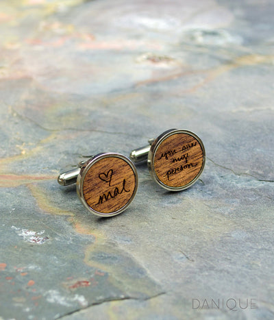 Personalized Wooden Cufflinks with Actual Handwriting