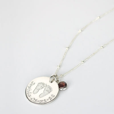Engraved Baby Footprints or Handprints Necklace with Tiny Birthstone Charm