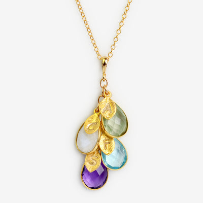 4 stone cascade necklace gold leaf charms green amethyst rainbow moonstone blue topaz purple amethyst cable chain