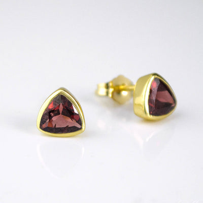 Small Garnet Quartz Triangle Studs, Everyday Earrings