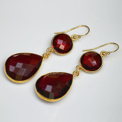 Garnet Double Drop Earrings - January Birthstone