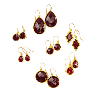 Garnet Earrings : January Birthstone