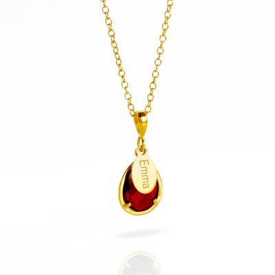 January Birthstone & Name Necklace : Garnet