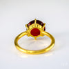 Garnet round cut prong set ring - January Birthstone